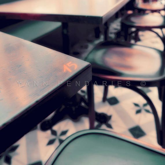 Paris photography, Parisian Cafe tables print, Paris cafe Photo, Cafe photo, coffee art, Brown Rustic Decor, parisian life