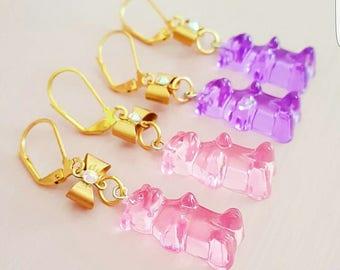 Pink Gummy Bear Earrings Lucite Gummy Candy Earrings Gold Bow Earrings Miniature Food Jewelry Pinup Kawaii Jewelry
