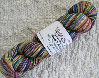 One Skein Hand Dyed Artisan Vesper Striping Yarn Exclusive Sock Club June 2014 Colorway Hummingbird Knitterly Things 100% Wool