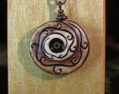 Clock Gear and Vines Spiral. Necklace.  One of a Kind