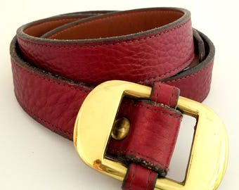 Vintage Dooney & Bourke Leather Belt Maroon Leather 36""