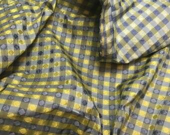 "Silk Taffeta Fabric - Blue & Green Jacquard Check 54"" wide -By the Yard -"