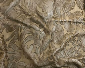 Hand Painted Burnout Silk Velvet Fabric - Antique Gold Floral - 1 Yard