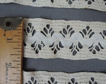 2 Pieces Antique Crochet Lace Trim with Ric-Rac, Handmade Edwardian 1900s Vintage Lace