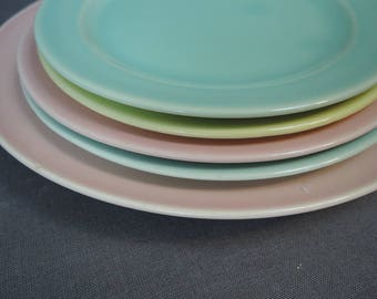 5 Vintage Luray Pastels Dishes, 2 Dessert Plates, 2 Salad Plates, 1 Dinner Plate, Pink, Yellow & Green