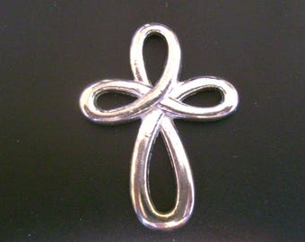 Looped Cross Charm - Shiny Silver Pewter  - Low Shipping