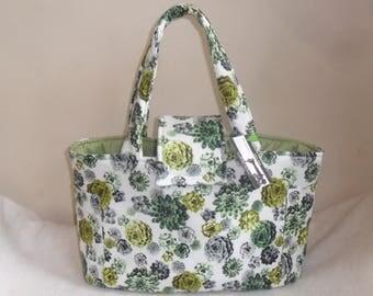 Large Tossed Succulents Diaper Bag Tote