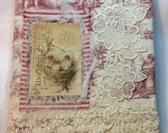 Mixed Media French Toile Fabric, GRATITUDE Journal, Thankfulness, Prayer Journal