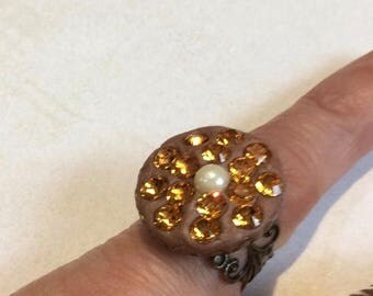 On Sale Brass filigree adjustable ring.Swarovski amber gold chatons.White glass pearl.Dress ring.