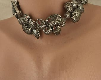 Statement Necklace,  Choker, Statement Jewelry Bold Bridal Rhinestone Collar Necklace