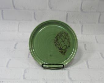 Ceramic Sandwich Plate - Spoon Rest - Cheese Plate - Coaster - Trinket Dish - Green Sandwich Plate - Artichoke Green Coaster - butter dish