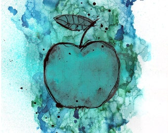 ink painting - A4 -  8x12in - food art - apple painting for kitchen