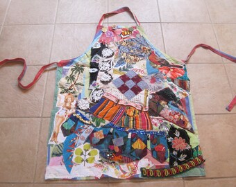 center diamond APRON Patchwork Couture Chic Wearable Collage Folk Art - Vintage Altered Recycled Linens - myBonny random scraps of fabric