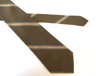 Striped Tie, Brown and Gold Vintage Tie