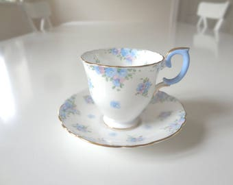 Vintage Pedestal Teacup Tea Cup Crown Staffordshire Blue Pink Floral Forget Me Not -  EnglishPreserves
