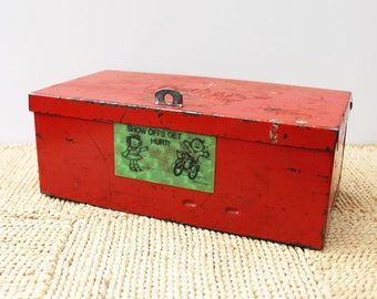 Vintage metal box container. Vintage storage, bright red.