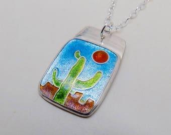 Cloisonne enamel jewelry cactus pendant necklace.