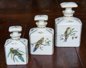 Set of French Porcelain Bird Jars from Limoges