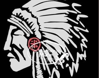 Native American-Indian head-SVG Cut File-Use with Silhouette Studio Design Edition,Cricut Design Space and others
