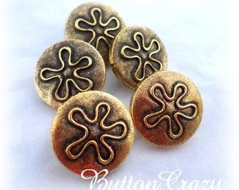 5 Gold Metal Look Flower Shank Buttons Vintage Metal Buttons