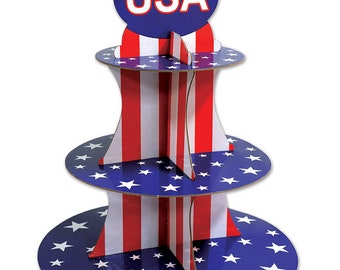"""Patriotic Cupcake Stand 16"""" - Party Decorations - 4th of July - Memorial Day 54790 Party fnt"""