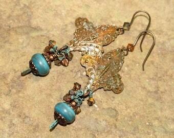 Fleur-de-lis, Swarovski and Blue Lampwork Glass Earrings, Handcrafted Rustic Art Glass Jewelry, Dark Patina Brass, French Stylized Lily
