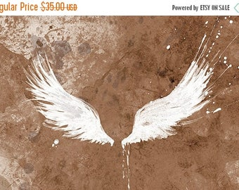 50% Off Summer Sale - White Wings - modern wall art - 12x18 art print - Brown, Turquoise, Dusky Pink, Grey and Charcoal