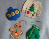 Embroidered Felt Christmas Ornaments OOAK Hand Stitched Ugly Christmas Sweater Stocking Tree Gingerbread Man Mitten Sequins Retro Keepsake