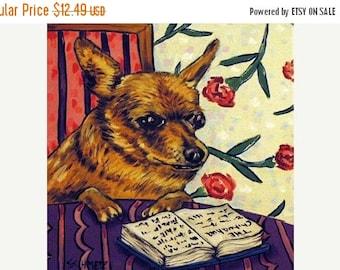 20 % off storewide Chihuahua Reading a Book Dog Art Tile Coaster Gift JSCHMETZ americanmodern POP ART folk abstract