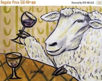 20 % off storewide Sheep at the Wine Bar Art Print 8 x 10  JSCHMETZ modern abstract folk pop art gift