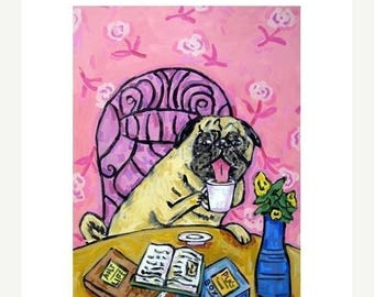20% off storewide Pug at the Coffee Shop Dog Art Print