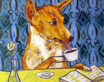 20% off Basenji at the cafe coffee shop Dog Art Tile Coaster Gift