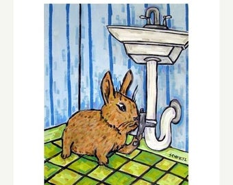 20% off Bunny Rabbit Plumber Art Print