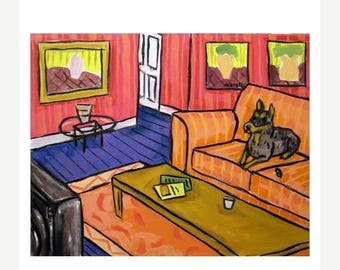 Doberman Pinscher Watching television Dog Art Print
