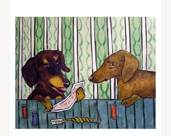 dachshund art - Dachshund- needlepoint print, dachshund poster,modern folk art, modern dog art, folk art,  print - dachshund gifts