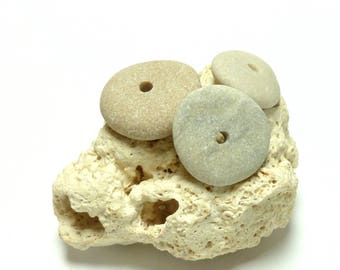 Genuine Drilled Beach Sea Stones LUCKY Stack Pebble Spacers Natural Stone Stacker River Rock Pebble DIY Jewelry Natural Blond