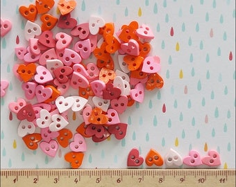 50 pcs Tiny Heart Shape Buttons - Mixed Color -