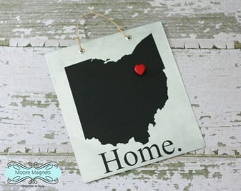 Ohio Home Sign Magnet board with Chalkboard State and Red Heart Magnet