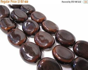 65% Off 8 Brown Handmade Glass Art Beads, Brown Rectangle Coin Artbeads approx 29x24x9mm POR0153
