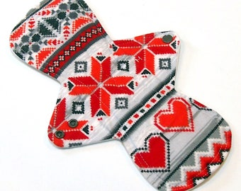 "11"" Heavy Flow Reusable Cloth Menstrual pad-bamboo core - waterproof PUL - cotton flannel top in Valentine's Fair Isle"