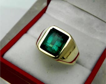 AAAA Blue Indicolite Tourmaline 10x8mm  5.25 Carats   Heavy 14K Yellow gold Emerald cut Mans ring 15-16 grams 1774