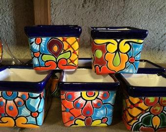 Mini Pottery (6 pieces) 2x2 inches party favor destination wedding cinco de mayo Talavera tile mexican pot vase wedding bridal shower