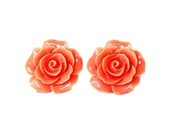 HALF PRICE SALE Peach rose flower resin post earrings