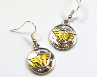 Wonder Woman Shield Silver Nickel Free Geeky Dangle Earrings