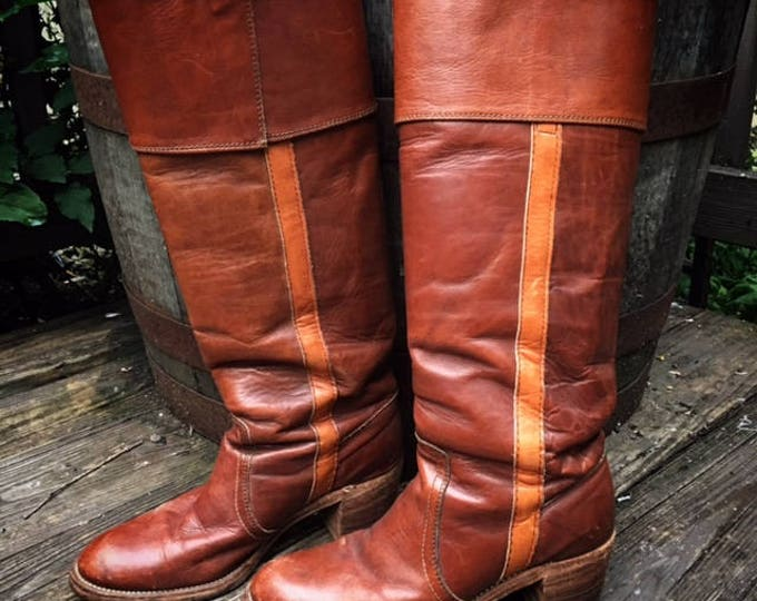 Vintage Frye 8515 Black Label Whiskey Leather with Brandy Leather Stripe Cuffed Campus Boots 1970's, Made in USA, Size 7B, Authentic & Rare