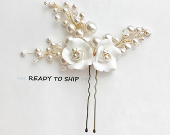 RTS Ivory bridal comb, floral bridal comb, flower hair pieces, bridal flower pins, flower hair pins, wedding accessories, bridal accessories
