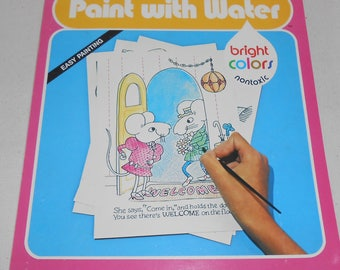 Vintage Paint with Water Book The Welcome Mouse, Vintage Childrens Paint Book, Childrens Crafts