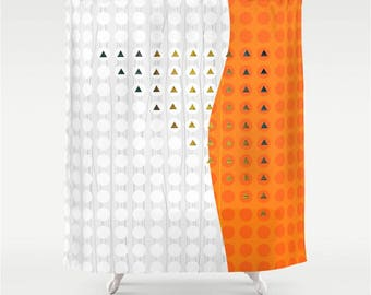Fabric Shower Curtain in Orange and White Dot Tile and Triangle Modern Abstract Mosaic