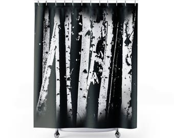 Birch Tree Forest Fabric Shower Curtain, Black and White Graphic Fading Birch Trees Nature Inspired Home Decor