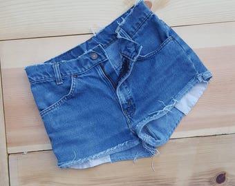 "Vintage Levi's Cut Offs  //  Vtg 70s 80s Made in the USA Levi Orange Tab Distressed Super Short Denim Shorts  //  29"" waist"